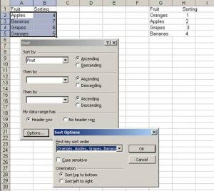 Multi level sort in Excel with Custom Sorting options