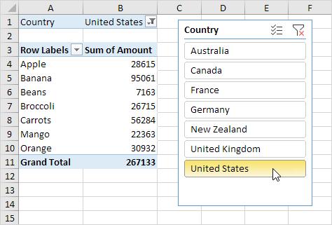 Excel Slicers Sample