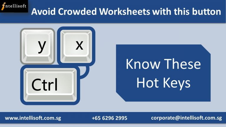 Learn the Hot Keys to Avoid Crowded Worksheet at Intellisoft Singapore