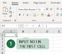 Step 1 Input number in Cell A1