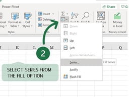 Step 02 Select Series from Fill option