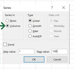 Step 03 Select Column and give stop value